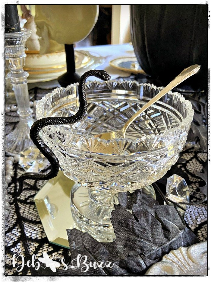 gothic-glam-halloween-table-Waterford-crystal-sugar-bowl-snake