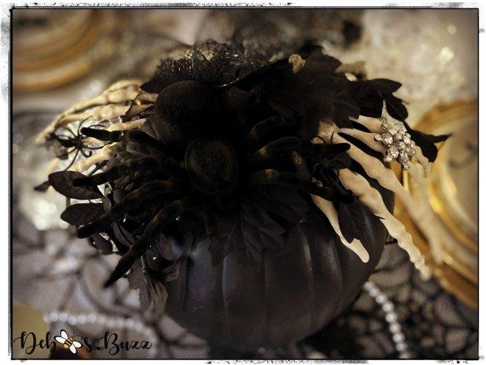 gothic-glam-halloween-table-skeleton-hands-spider-black-pumpkin