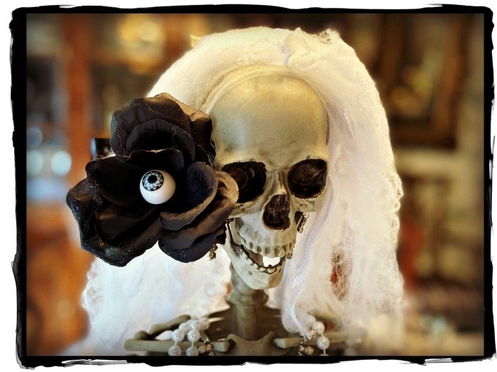 silly-skeleton-pose-black-eyeball-rose-spider-web-hair