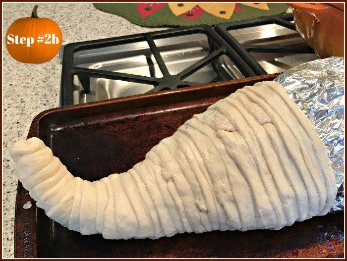 Thanksgiving-bread-cornucopia-dough-wrapped-foil-cone