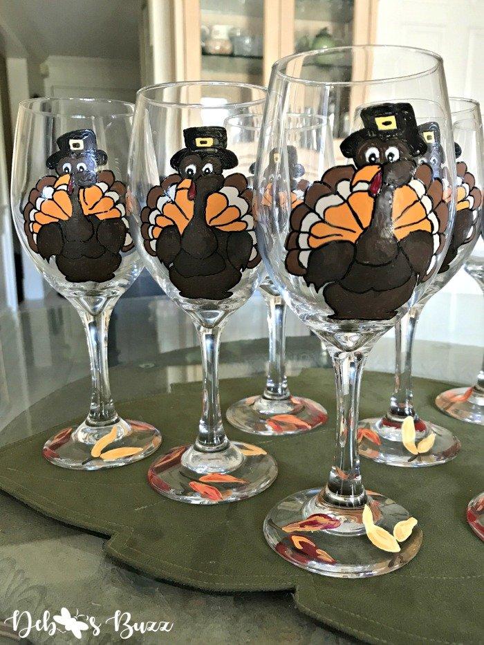 Thanksgiving-turkey-painted-glass-trio