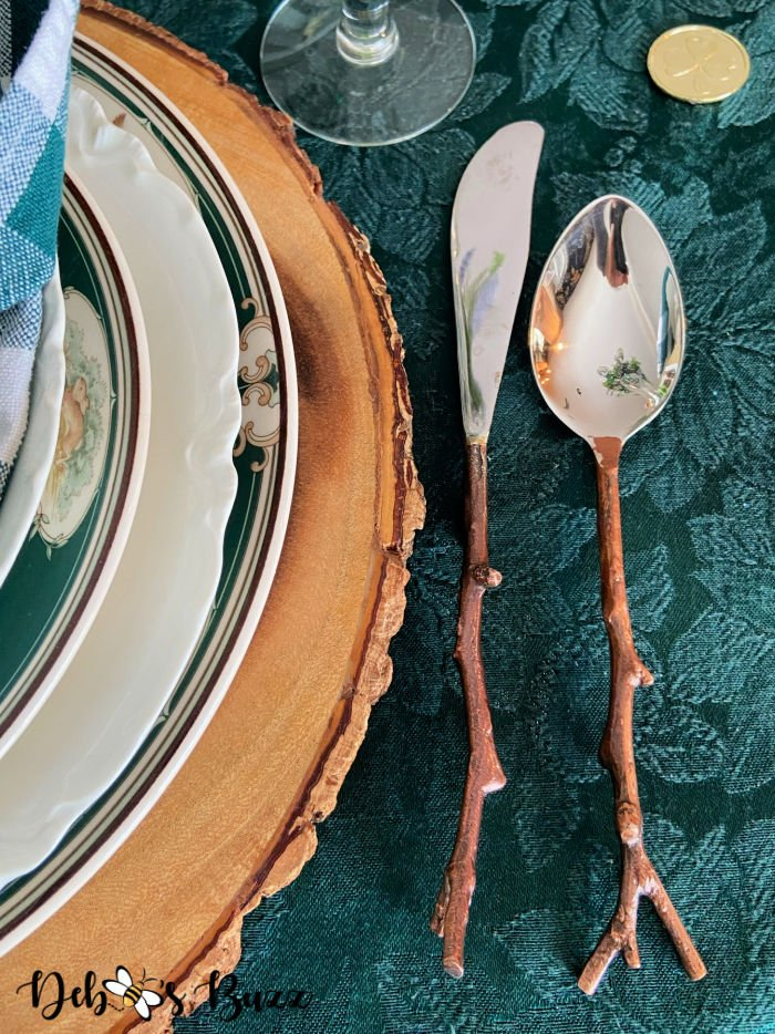 St.-Patrick's-Day-table-setting-plate-stack-twig-flatware