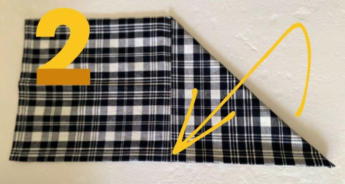 Bee-shape-napkin-fold-tutorial-step-2