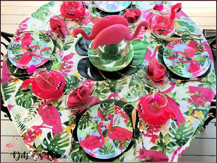 pink-flamingo-tropical-table-overhead-view