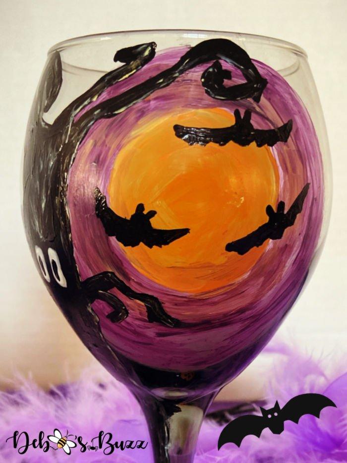 diy-hand-painted-Halloween-glass-spooky-moon-bats