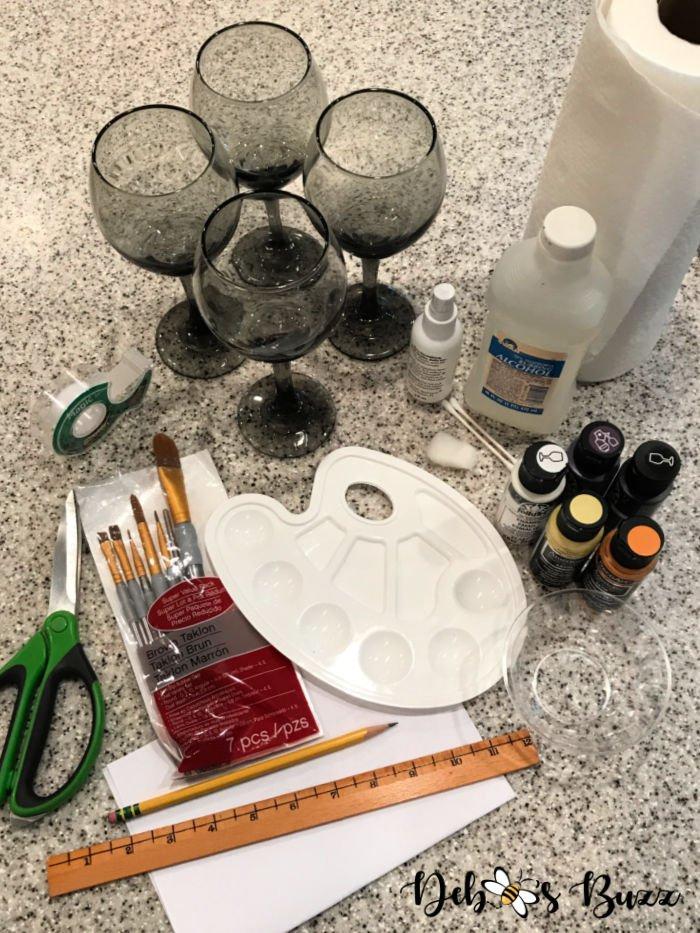 diy-hand-painted-Halloween-glasses-materials
