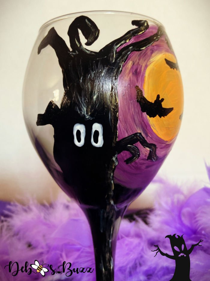 diy-hand-painted-Halloween-glasses-spooky-tree