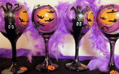 DIY Spooky Dollar Tree Painted Halloween Glasses
