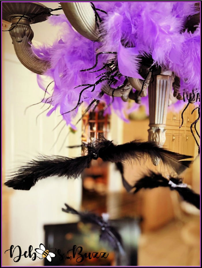 Halloween-bat-decorated-chandelier