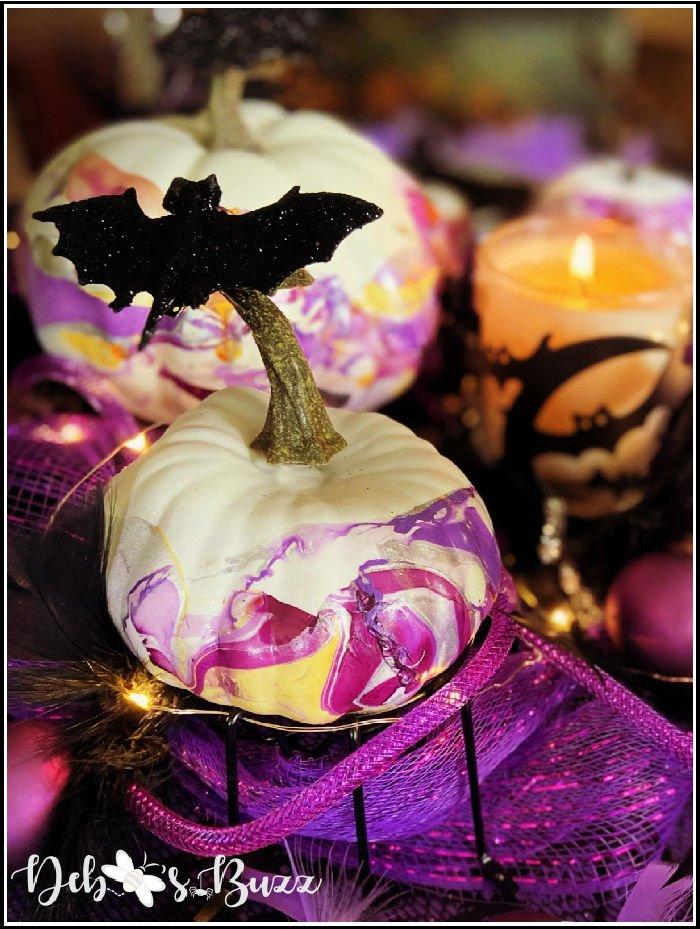 Halloween-centerpiece-marbled-white-purple-pumpkin