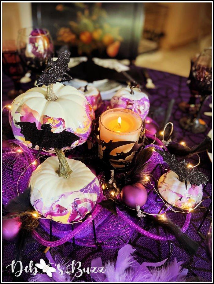 bat-marbled-pumpkin-centerpiece-purple-Halloween-table