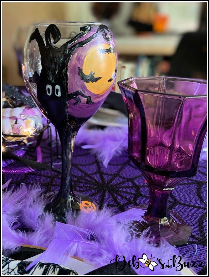 batty-black-purple-Halloween-table-haunted-tree-wine-glass