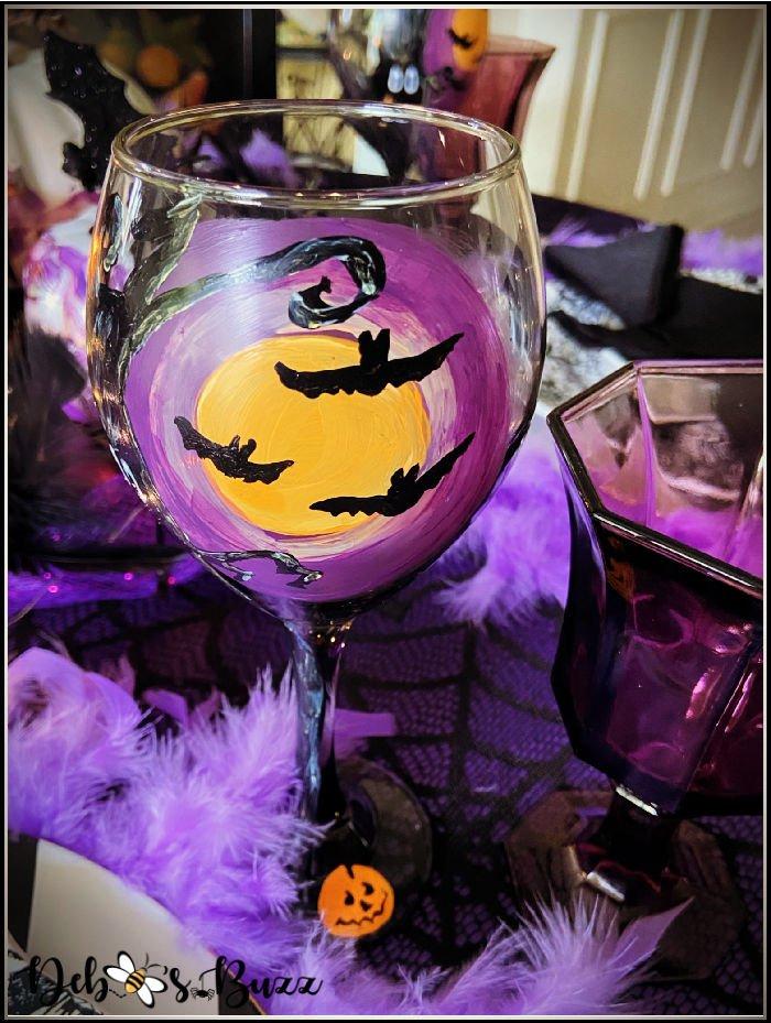 batty-black-purple-Halloween-table-painted-wine-glasses