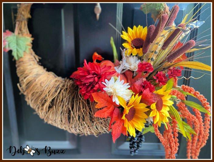DIY Fall Decor: Grapevine Cornucopia Wreath