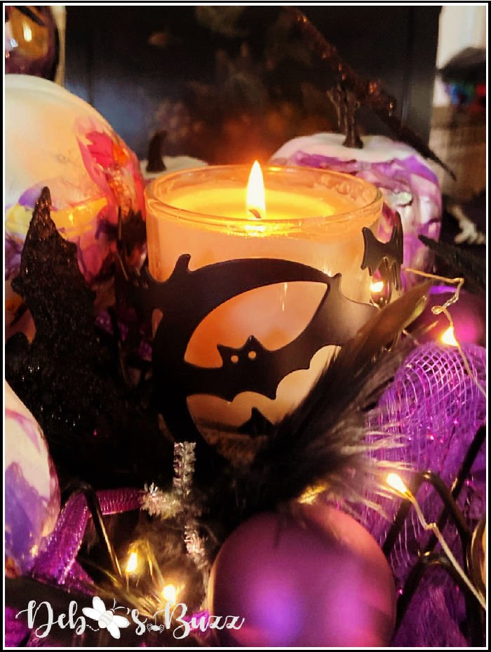 purple-Halloween-table-black-bat-candle