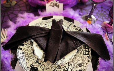 Gone Batty: Black, White & Purple Halloween Table