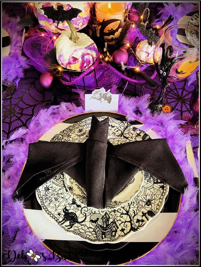 purple-Halloween-table-black-bat-napkin-place-setting